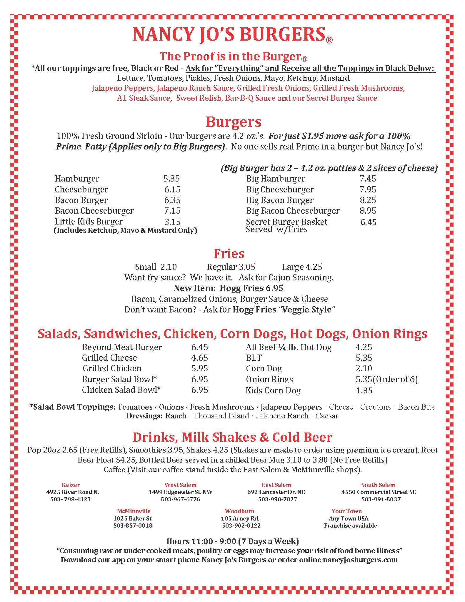 Menu - Nancy's Hand Crafted Burgers